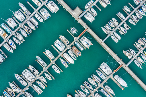 Shallow「Aerial shooting of the resort area. A pier with many small boats anchoring.」:スマホ壁紙(12)