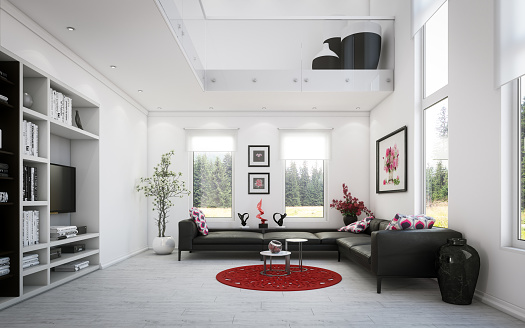 Black Color「Luxury Two-Level Living Room」:スマホ壁紙(14)