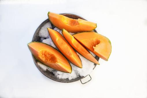 メロン「Slices of cantaloupe melon」:スマホ壁紙(9)
