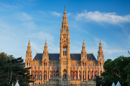 Gothic Style「Town Hall at morning sun. Vienna.」:スマホ壁紙(2)
