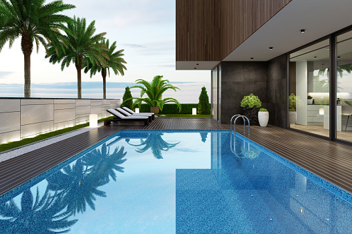 Standing Water「Luxurious beach side villa with swimming pool and palm trees at summer sunset scene」:スマホ壁紙(18)