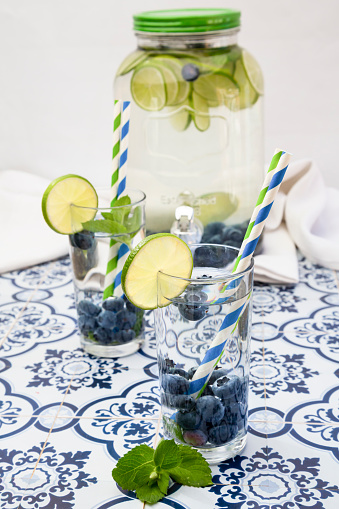 Infused Water「Glasses of infused water with lime, blueberries and mint」:スマホ壁紙(7)