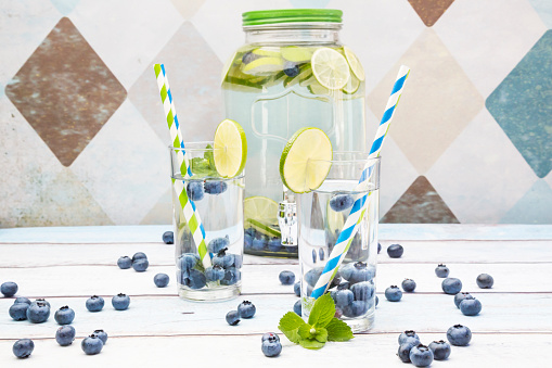 Infused Water「Glasses of infused water with lime, blueberries and mint」:スマホ壁紙(5)