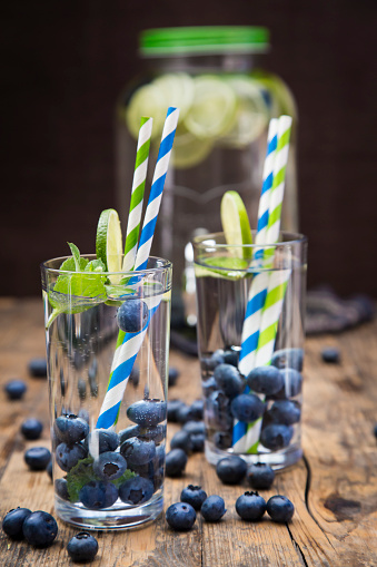 Infused Water「Glasses of infused water with lime, blueberries and mint」:スマホ壁紙(17)