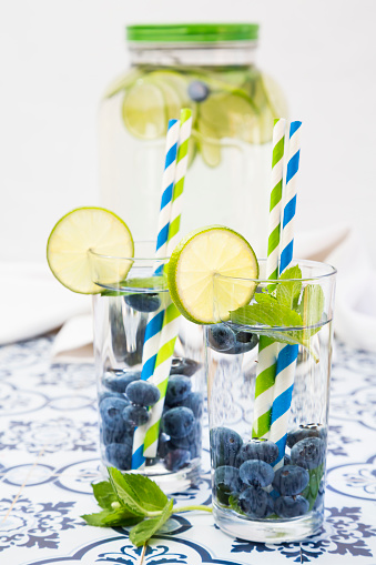 Infused Water「Glasses of infused water with lime, blueberries and mint」:スマホ壁紙(3)