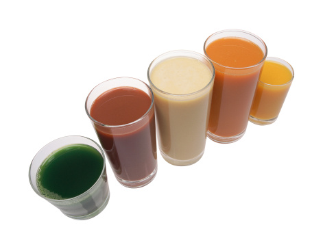 Vegetable Juice「Glasses of fruit and vegetable juices, arranged in row」:スマホ壁紙(3)