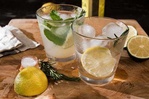 Tonic Water「Glasses of Gin Tonic with lime, mint, rosmary and ice and with lemon, rosmary and ice」:スマホ壁紙(14)
