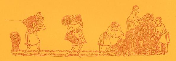 Circa 14th Century「Serfs tying up sheaves of corn」:写真・画像(8)[壁紙.com]