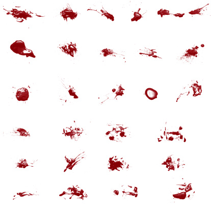 Splattered「Set of Various Blood Splatters isolated on white」:スマホ壁紙(6)