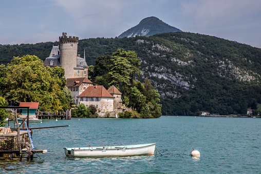 Annecy Lake「Lake Annecy and boat」:スマホ壁紙(9)