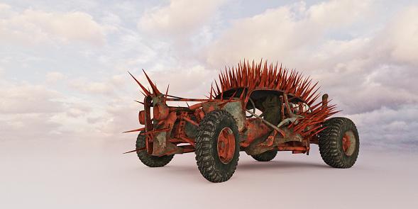 ハリネズミ「Dystopian futures: rusty modified car covered in spikes」:スマホ壁紙(4)