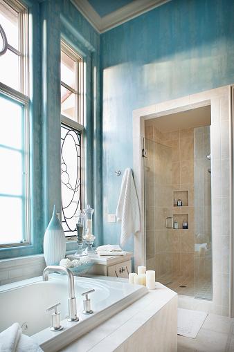 Light Blue「Glass Doors to Tiled Shower Stall in Traditional Bathroom」:スマホ壁紙(19)