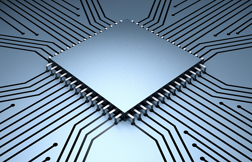 Gray Background「Microchip with Circuit Board」:スマホ壁紙(13)