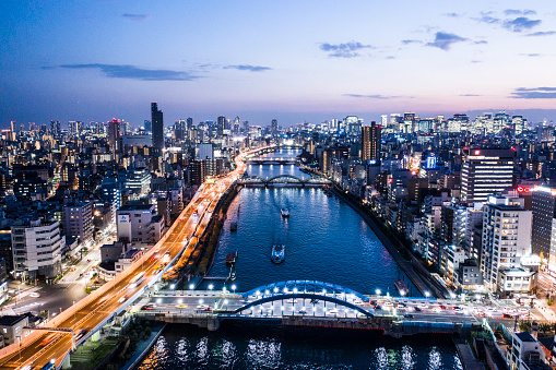 Tokyo - Japan「Tokyo cityscape where night view and river can be seen」:スマホ壁紙(8)