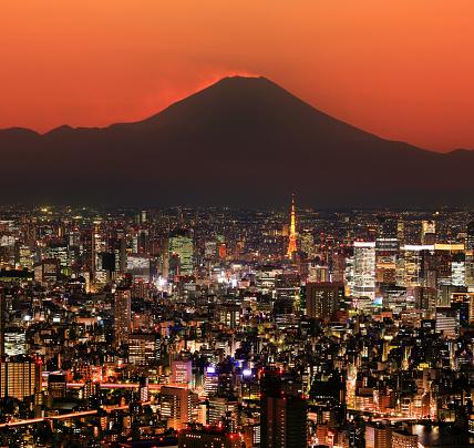 Mt Fuji「Tokyo cityscape and Mt Fuji」:スマホ壁紙(10)