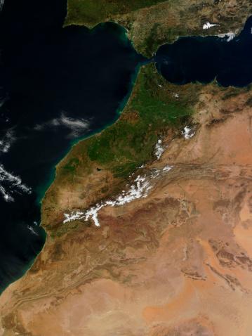 アトラス山脈「March 19, 2011 - Satellite view of Morocco. 」:スマホ壁紙(18)