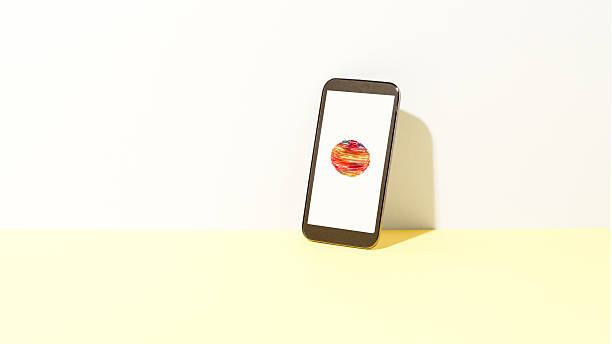 Data orb on smart phone:スマホ壁紙(壁紙.com)