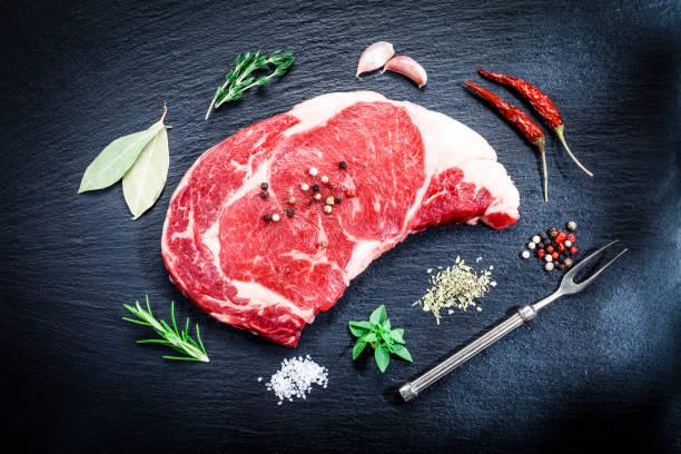 Raw fresh beef steak on dark background:スマホ壁紙(壁紙.com)