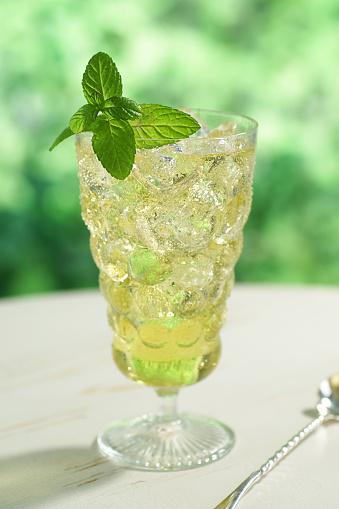 Ice Tea「A clear bubble glass full of iced green tea with mint」:スマホ壁紙(15)