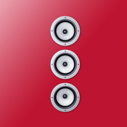 Audio Equipment「3 loudspeaker / speaker on a red wall」:スマホ壁紙(5)