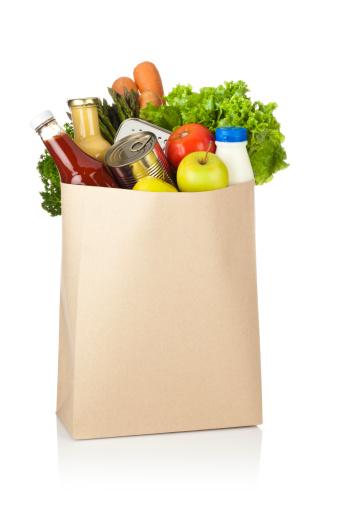 Full「Brown paper shopping bag full of groceries on white backdrop」:スマホ壁紙(4)