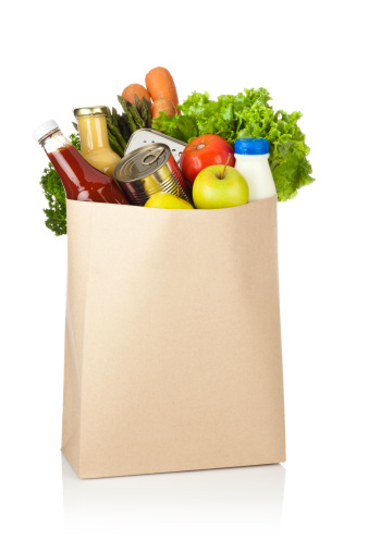 Supermarket「Brown paper shopping bag full of groceries on white backdrop」:スマホ壁紙(10)