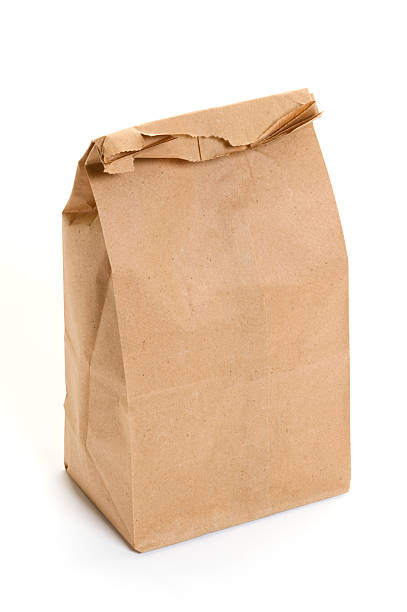 Brown Paper Bag Lunch on a white background:スマホ壁紙(壁紙.com)