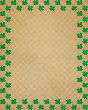 タータンチェック「茶色の紙にグリッター clover フレーム」:スマホ壁紙(0)