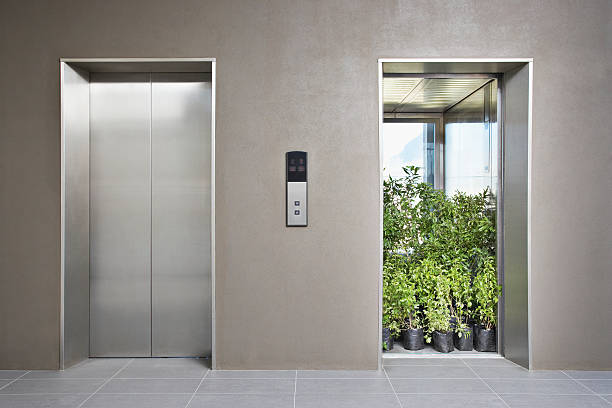 Office elevator full of plants:スマホ壁紙(壁紙.com)