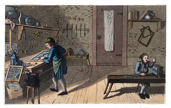 Glazier「Professions: Glazier. From: Gallerie Der Vorzüglichsten Künste. Zürich  Leipzig. Colored Lithograph. 1820.」:写真・画像(0)[壁紙.com]