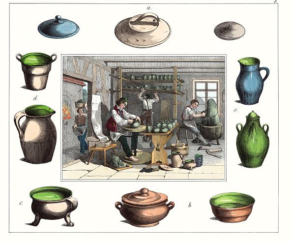 Cooking Utensil「Professions: Potter. From: 30 Werkstaetten Von Handwerkern. Schreiber: Eßlingen. Colored Lithograph. About 1860.」:写真・画像(3)[壁紙.com]