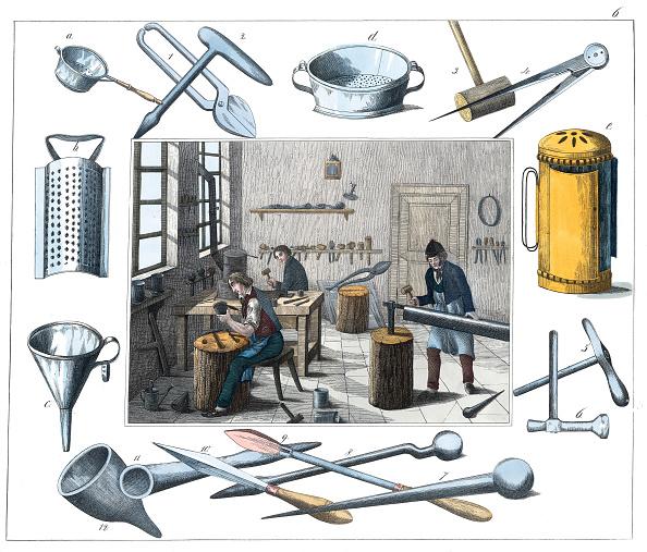 Illustration Technique「Professions: Plumber. From: 30 Werkstaetten Von Handwerkern. Schreiber: Eßlingen. Colored Lithograph. About 1860.」:写真・画像(4)[壁紙.com]