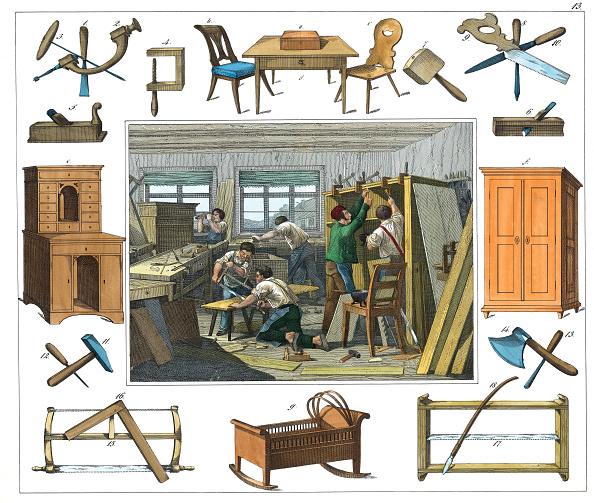 Carpentry「Professions: Carpenter. From: 30 Werkstaetten Von Handwerkern. Schreiber: Eßlingen. Colored Lithograph. About 1860.」:写真・画像(16)[壁紙.com]