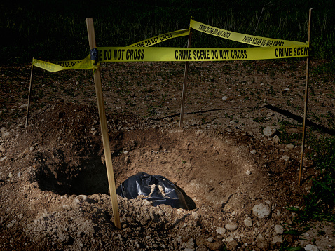 Murder「Garbage bag in dug hole with crime scene tape」:スマホ壁紙(10)