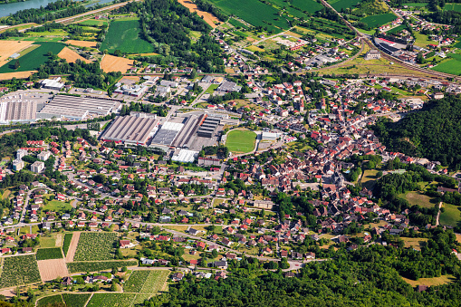 Bugey「Aerial top view of Culoz small French town in Ain department, Auvergne-Rhone-Alpes region, with residential area and sports complex with football stadium in middle」:スマホ壁紙(19)