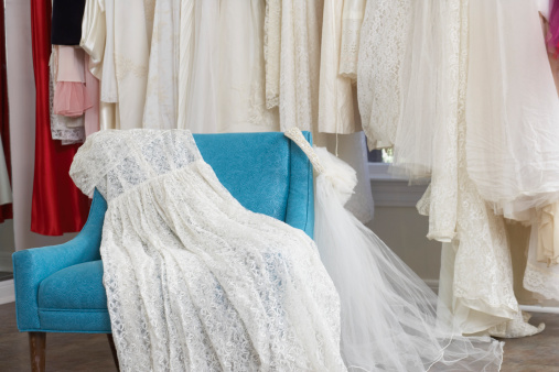 Dress「Wedding dress and veil on armchair in clothing store」:スマホ壁紙(0)