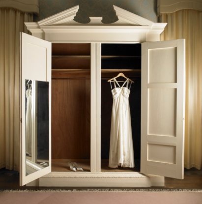 Wedding Dress「Wedding dress hanging in wardrobe with shoes」:スマホ壁紙(0)