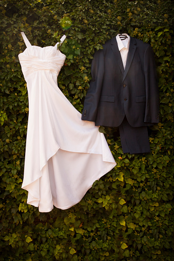 Married「Wedding dress and suit of groom hanging at green wall」:スマホ壁紙(2)
