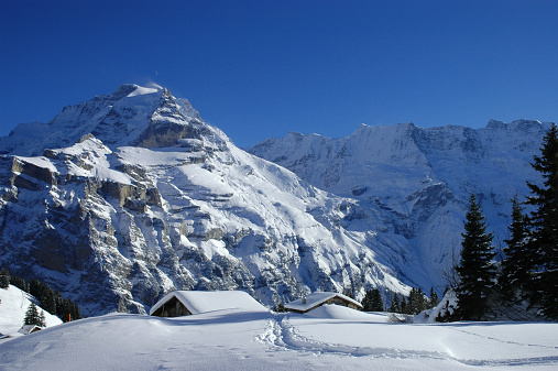 雪「Alpine huts in snow, Mürren, Bernese alps」:スマホ壁紙(7)