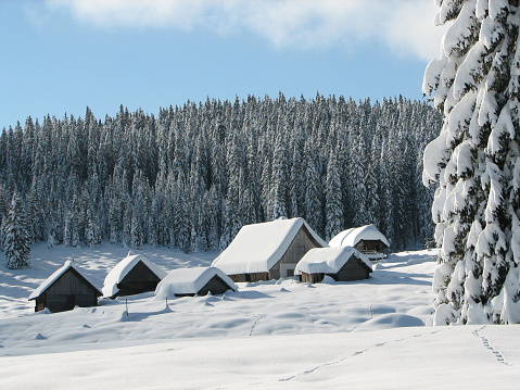 Ski Resort「Alpine huts covered with snow」:スマホ壁紙(7)