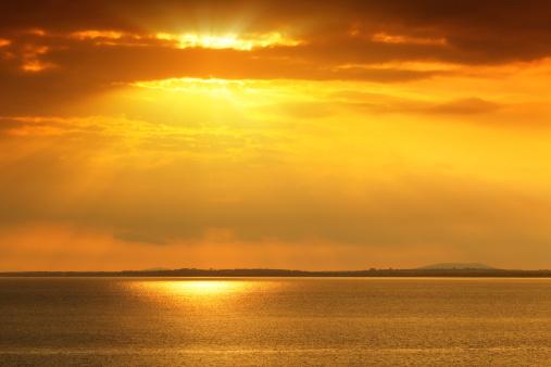 アイリッシュ海「夕暮れ時の海」:スマホ壁紙(0)