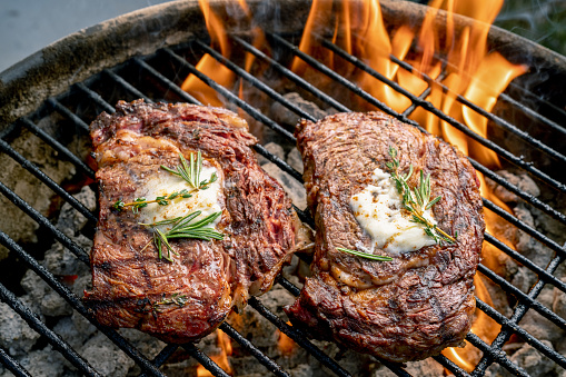 Char-Grilled「Two Delicious Thick Juicy Ribeye Steaks On A Flaming Grill」:スマホ壁紙(7)