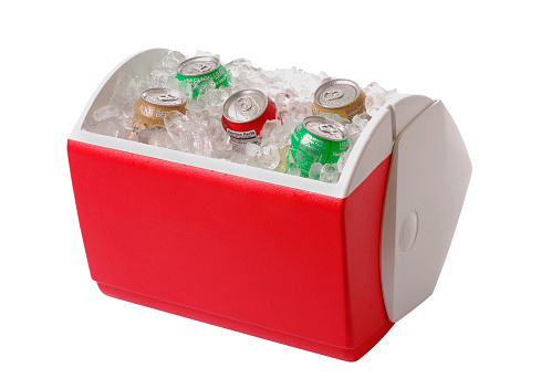 Cooler - Container「Red and white cooler containing ice and five cans of soda」:スマホ壁紙(12)