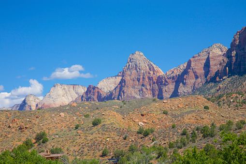 cloud「Red and white rock formations atop slopes at Zion National Park, Utah」:スマホ壁紙(4)