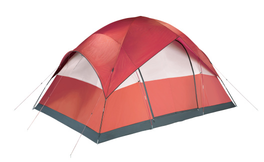 Tent「Red and white camping tent pitched to the ground」:スマホ壁紙(9)