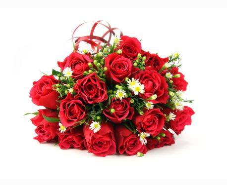 薔薇「赤と白のバレンタインや結婚式のブーケ」:スマホ壁紙(10)