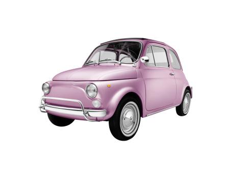 朗らか「イタリアピンクの古いカー(絶縁、クリッピングパスを白背景)」:スマホ壁紙(15)