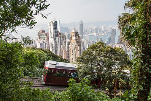 Victoria Peak「The skyline of Hong Kong with the Peak Tram.」:スマホ壁紙(15)