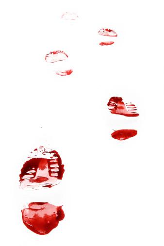 Evil「Red Shoe Print on White Background」:スマホ壁紙(0)