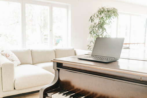 Back Lit「Laptop standing on piano in a living room」:スマホ壁紙(12)